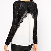 Lipsy Sequin Jumper with Chiffon Back and Lace Trim