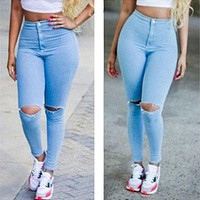 Hot Jeans Pants 2016 Womens Fall Fashion Female Denim Strech Blue Skinny Hole Ripped Pencil High Waist Slim Pencil Trousers