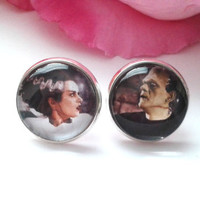 The Bride & Frankenstein Stud Earrings - Stud Earrings - Post Earrings - Fake Plugs
