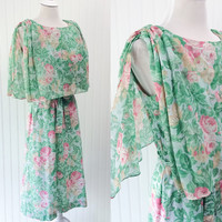 Salma dress // 1970s sheer gauzey mint green & pink floral cabbage rose print boho midi // caped bust // size S