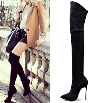 Pointed Toe Elastic Over The Knee Boots Stiletto Heel