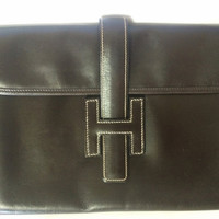 90's vintage HERMES jige, document case, dark brown portfolio purse. Classic and sophisticated style for unisex