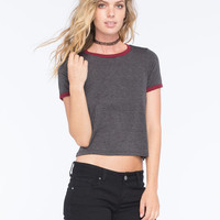 H.I.P. Solid Womens Ringer Tee Charcoal  In Sizes