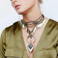 Tribal Crescent Layer Necklace