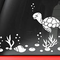 """Sea Turtle And Shells Decal Sticker - White 5"""" Vinyl Decal for Car, Macbook, or Other Laptop"""