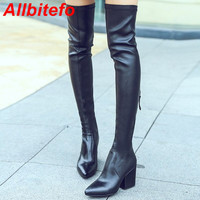 ALLBITEFO High quality sheepskin+suede women over the knee boots pointed toe high heel shoes woman thigh high boots femme bottes