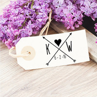 Etsy Couples Initial Stamp - Wedding Favor Tag Stamp - Monogram Wedding Stamp -Rustic Wedding Rubber Stamp - Heart and Arrows