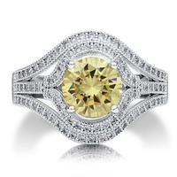 Sterling Silver 925 Round Cut Canary Cubic Zirconia CZ Cocktail Ring #r538