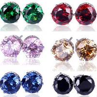 10pairs AAA+ New Design Rhinestone Crystal Silver Stud Earrings Piercing Ear Studs for Women Wedding Party Gift Free Shipping