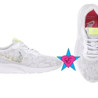 Glitter White Lace Nike Women's Tanjun Swarovski Wedding Sneakers