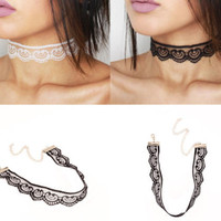 Delicate Lace White or Black Choker Necklace