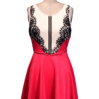 Lace Detail Dress With Gold Bow Belt - Red