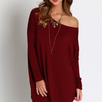 Slouch Tunic Dress Dark Maroon
