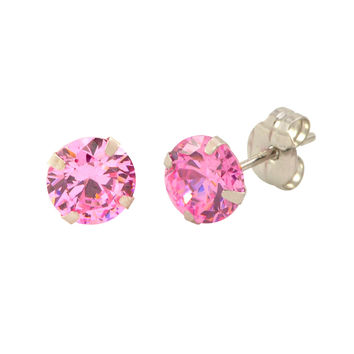 14k White Gold Pink CZ Earrings Round Cubic Zirconia October Birthstone Studs