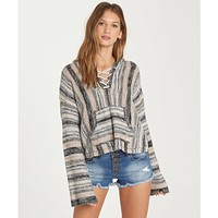 Billabong Women's Baja Beach 2 Classic hooded Poncho Sweater | Cream