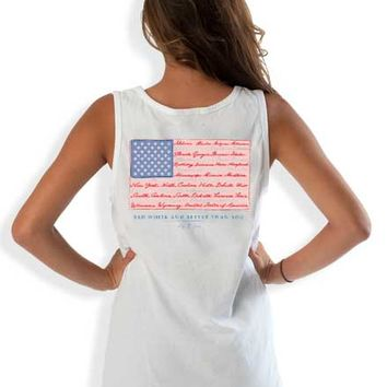 Lily Grace American Flag Preppy Tank Top in White 10682-CC