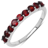 Genuine Garnet 9 Stone .925 Sterling Silver Ring