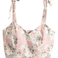 Embroidered bustier - Light pink/Floral - Ladies | H&M GB