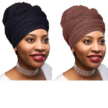 2 Pcs Black and Chocolate Brown Solid Color Head Wrap Stretch Long Hair Scarf Turban Tie Kente African Hat Jersey Knit Headwraps