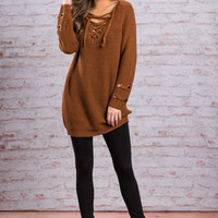Any Lace But Here Sweater, Camel
