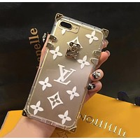 LV Louis Vuitton Trending Stylish Jelly Transparent Crystal iPhone Phone Cover Case For iphone 6 6s 6plus 6s-plus 7 7plus 8 8plus X White I12216-1