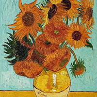 Wieco Art - Sunflower by Vincent Van Gogh Oil Paintings Reproduction, Modern Giclee Canvas Prints Artwork on Stretched and Framed Canvas Wall Art for Home and office Decorations Flowers Picture To Photo Printing V0002 12 by 16 inch