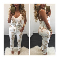 Women's Fashion Sexy V-neck Print Pants Bottom & Top [8998744388]