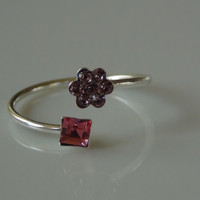 Sterling Silver Pink Purple Flower Square Toe Ring