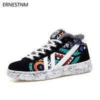ERNESTNM 2018 Winter Woman Flat Casual Shoes Women Sneakers Lovers Printing Ladies Vulcanized Shoes Plush Graffiti Totem Boots