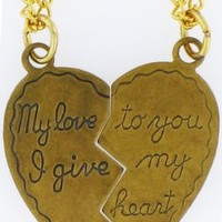 """Heart Pendant My Love to You, I Give My Heart, 2 18\"""" Necklaces 14k Old Gold Tone Plated: Jewelry: Amazon.com"""