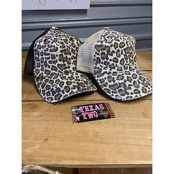 Leopard Mesh Ponytail Hat in Black or Oatmeal