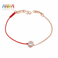 2017 F jewelry thin red line rope with Real Rose Gold Color chain bracelet Genuine Czech crystal Mother's Day gift #117884