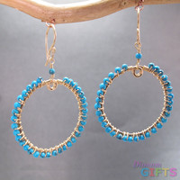 "Hammered hoops wrapped with turquoise, 2"" Earring Gold Or Silver"