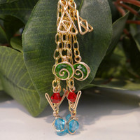 Triple Chain Legend of Zelda Inspired Earrings with Spiritual Stones and Triforce