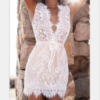 V-Neck White Lace Dress
