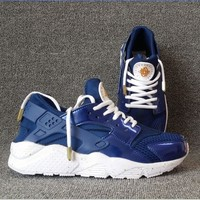 NIKEAIR Huarache Running Sport Casual Shoes Sneakers (Navy blue-white soles) H-A Tagre™