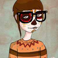 $16.00 Day Of The Dead Hipster  8 x 10 Illustration Print by NanLawson