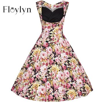 1950's Vintage Floral Sleeveless Cocktail Party Dress