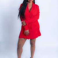 Red Double Breasted Blazer Dress