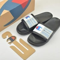 Champion Life Youth Slide Sandals Repeating Logo Black White - Best Online Sale