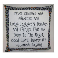 Cross Stitch Pillow, Halloween Pillow, Ghoulies and Ghosties, Scottish Saying