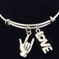 ASL American Sign Language and Love Charm on Expandable Adjustable Wire Bangle Bracelet  Appreciation Gift