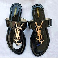 YSL Summer Fashion Women Casual Flat Sandal Slippers Shoes Black