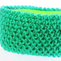 Green knitted headband fleece lined ski accessory women 100% wool bright green hairband ear-warmer Irish knitwear warm chunky knit headbands