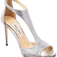 Jimmy Choo Lana 100 Glitter Fabric T-Bar Sandal, 39.5, Metallic