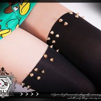 punk heavy metal visual amazon warrior spike stud layered look pantyhose J1A008A