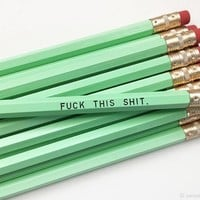 Fuck This Shit Pencil Set in Mint | Set of 5 Funny Sweary Profanity Pencils