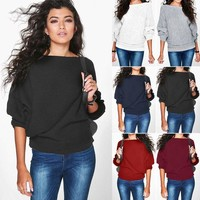 Women Batwing Long Sleeve Knitted Sweater Tops Casual Cardigan Outwear Pullover