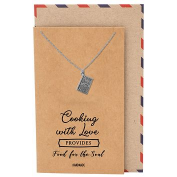 Dahlia Cookbook Pendant Necklace with Quote Card, Gifts for Master Chef Cooks & Bakers