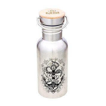 Let Love Be Your Anchor Tattoo Art Water Bottle | Nautical Retro Stainless Steel Canteen | Silver | Wood Top